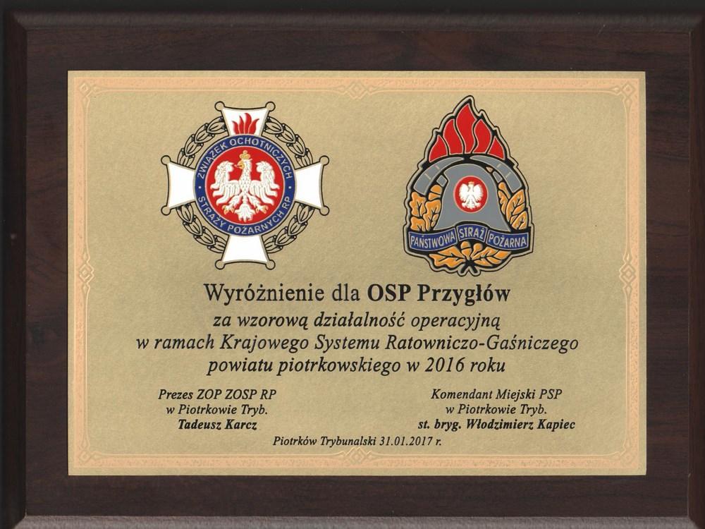 Wyróżnienie dla OSP Przygłów