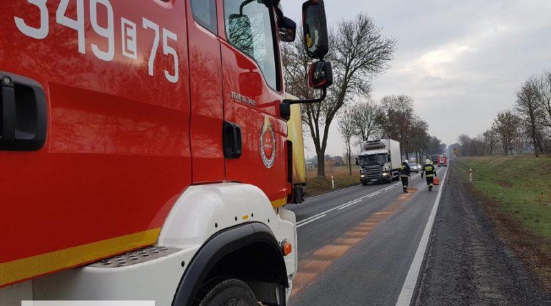 Strażacy usunęli długą plamę oleju na DK 12 i DW 742
