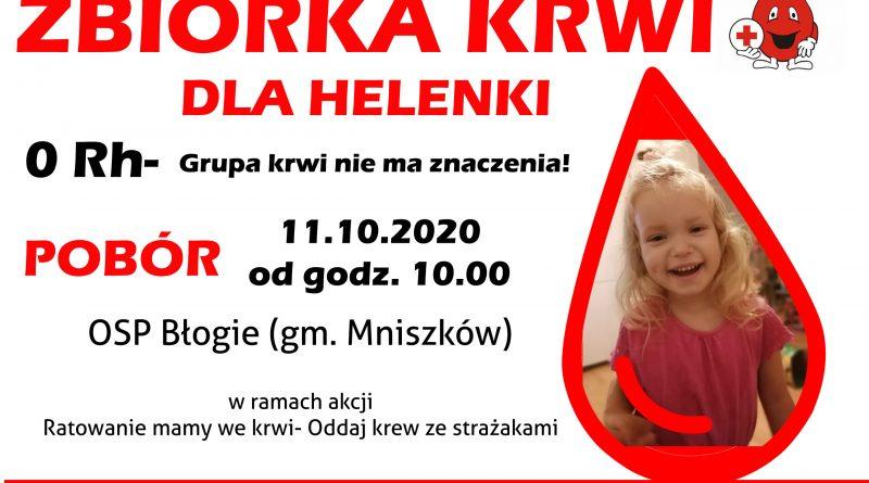 OSP Błogie: w najbliższą niedzielę zbieramy krew dla Helenki